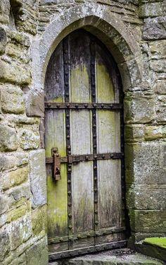 Gorgeous door at Tintern Abbey - Tintern, Monmouthshire, Wales. Cool Doors, Unique Doors, Knobs And Knockers, Door Knobs, Medieval Door, Porte Cochere, When One Door Closes, Door Gate, Wooden Doors