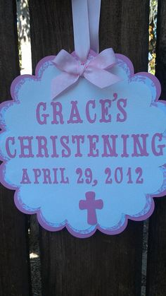 CUSTOM Baptism banner pink and white or pick your by SweetBugABoo