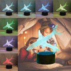 3D Aircraft Airplane Night Light 7 Color Change LED Desk Lamp Touch Room Decor