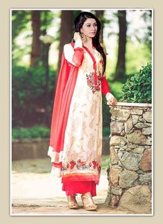Exquisite Off White & Red Coloured Straight Suit India's leading e-commerce marketplace