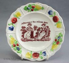 Child's plate A Present for a Good Boy, circa 1830 More stock available at www.martynedgell.com