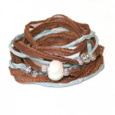 "Seidenarmband ""White Pearl"" verschiedene Farben"