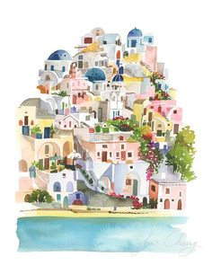 Santorini Watercolor Art Print от YaoChengDesign на Etsy