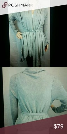 Bcbg Max Azria grey silk/cashmere cardigan M/L Beautiful gray silk and cashmere blend draped knit cardigan sweater. Size medium runs large. 85% silk 15% Cashmere.  Excellent condition from my personal collection but Barely Used. 22 inches armpit to armpit longer in the front see the pics of shorter back. BCBGMaxAzria Sweaters Cardigans