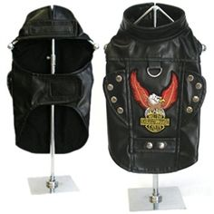"""This amazing Motorcycle Harness jacket will have your """"Biker Dog"""" riding is style! Made from the finest soft faux leather, it feels and smells just like real leather. Not only is this jacket fully lined, but we have added a high quality embroidered eagle patch with """"Born To Ride"""" embroidered in shiny gold lettering. The flaps on either side of the jacket and the belting embellishments have heavy duty nail heads, making this harness jacket to look just like Dad's"""