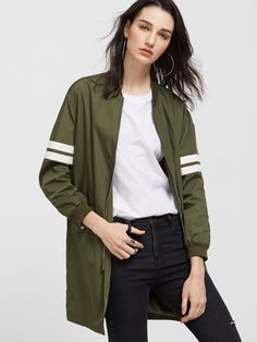 Shop Olive Green Striped Sleeve Longline Zip Up Bomber Jacket online. SheIn  offers Olive Green Striped Sleeve Longline Zip Up Bomber Jacket & more to  fit ...