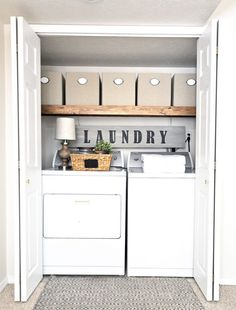 Shelves For Laundry Room Cabinets Making Wall Storage Organization . Storage And Organization laundry room storage organization and inspiration Rustic Laundry Rooms, Farmhouse Laundry Room, Small Laundry Rooms, Laundry Room Design, Laundry Decor, Basement Laundry, Laundry Bags, Diy Home Decor Rustic, Modern Farmhouse Decor