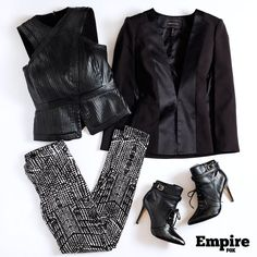 #OOTD as worn by Cookie Lyon (Taraji P. Henson) on s1 ep5 of Empire. Loving this black & white power outfit.