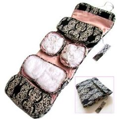"""Toiletry Cosmetics Travel Bag for Women with Hanger (23""""x9"""") - Pink Black White - Best Cosmetics Organizer Christmas Gift for Women  Price:$18.95"""