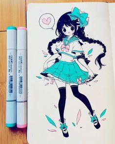 Anime Drawings Sketches, Anime Sketch, Kawaii Drawings, Cute Drawings, Art Anime, Anime Artwork, Anime Art Girl, Manga Art, Copic Marker Art