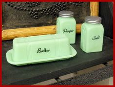 Mint Green Retro Butter Dish  Country Cottage by ShabbyCrabby.