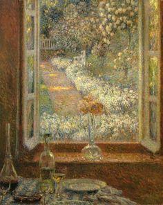 """Henri Le Sidaner (French, 1862-1939) - """"La fenêtre aux œillets"""""""