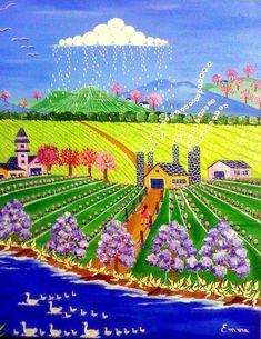 """""""Petite pluie printanière"""" Peinture de l'artiste brésilienne Emma Bianchini"""