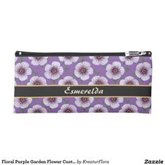Floral Purple Garden Flower Custom Name Pencil Case