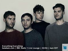 http://balakam.com/search/item?id=16443183 - Happy Tuesday! Everything Everything are in the BBC Radio 1 Live Lounge next Tuesday - 02/04! Don't forget to share!  #music #indie #bbcradio1 #livelounge #webradio #everythingeverything