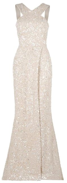 Wedding Gown with Sequin and Beading Detail