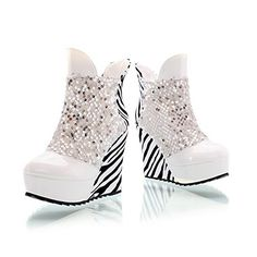 WeenFashion Womens Closed Round Toe High Heel PU Soft Material Assorted Colors Boots with Sequin, White, 5 B(M) US ** Read more reviews of the product by visiting the link on the image. http://www.amazon.com/gp/product/B00NFC0YCO/?tag=clothing8888-20&pkl=031016030024