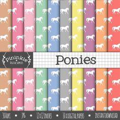 Pony Digital Paper Horse Digital Scrapbook Paper by Pininkie
