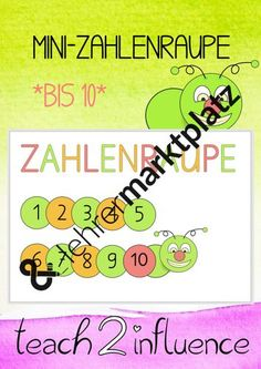 Mini-number caterpillar up to 10 – teaching material in the subjects daycare & mathematics - Bildung Caterpillar, Mini, Numbers, Teaching, Philosophy, Teaching Materials, School Social Work, Pictorial Maps, Physical Science
