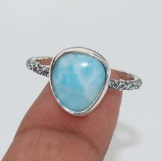 Natural Larimar Dominican Gemstone 925 Solid Sterling silver Ring US Size-6 #Rananjay #HandmadeSolitairering