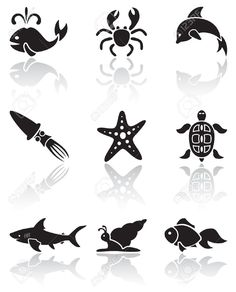 Image result for sea creature clipart black and white