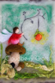 BOY AND a LANTERN Needle Felted Wool Painting by CloudBerryCrafts