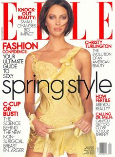 Elle March 2002: Christy Turlington, photographed by Gilles Bensimon, makeup by Pati Dubroff