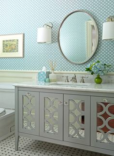 House of Turquoise: Fisher Hart Photography and Carol Flanagan Interior design office bedrooms design and decoration ideas House Of Turquoise, Turquoise Tile, Turquoise Bathroom, Home Decoracion, Classic Bathroom, Quirky Bathroom, Bathroom Gray, Bathroom Colors, Interior Photography