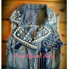 Chaleco de Jean con perlas para Nena Glam girl  Puro Glam kids