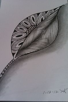kimberly keane, via Flickr. nice leaf doodle.  the shading really makes it lift off the page