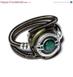 Steampunk Jewelry - RING - Green - SIZE 9.5 ONLY. $50.00, via Etsy.
