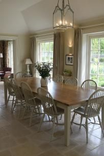 Chiddingfold - kitchen with bespoke table and chairs and pendant light to order