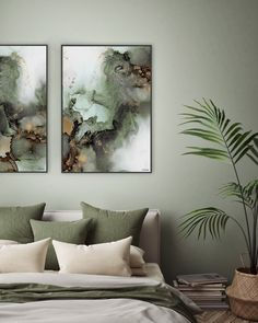 Beautiful abstract art made with alcohol ink by Norwegian artist and designer Linda Skaret. Comfy Bedroom, Bedroom Inspo, Bedroom Decor, House Of Philia, Bedroom Colour Palette, Bedroom Color Schemes, Design Online Shop, Couple Room, House And Home Magazine