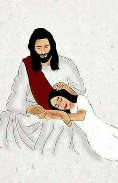 Jesus: Rest, my child. Jesus Is Life, Jesus Faith, My Jesus, Christian Drawings, Christian Art, Jesus Cartoon, Pictures Of Jesus Christ, Jesus Painting, Bride Of Christ