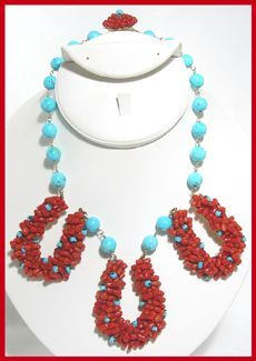 1949, Early, Rare. All Handmade, Rich Red Coral-colored beads encrusted on half circle forms with Turquoise bead chain.   Marked Miky, Made in Italy. Miky is the first Coppola e Toppo mark c.1949, named after Lyda Coppola's dog.