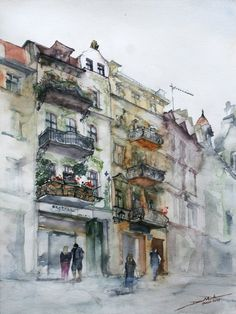 Watercolour buildings. This style is so dream-like. I'm trying to learn this technique over the summer for sure.   (unknown artist.)