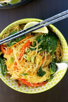 Simple One Pan Singapore Noodles #Vegan  :  I use Cocnut aminos in place of sweet soy and Leave out the br. sugar all together making this GF, V, SF, and still delish