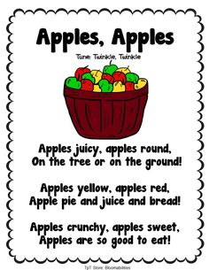 Twenty Poems for Back-to-School. Themes Include: School Autumn Apples Grandparents' Day Friendship National Library Card Sign-Up (September) Month. Preschool Poems, Preschool Apple Theme, Kids Poems, Preschool Music, Fall Preschool, Preschool Apples, Kindergarten Poems, Apple Activities Kindergarten, Preschool Planner
