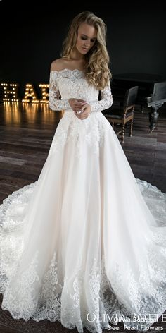 A line wedding dress Olivia by Olivia Bottega. Wedding dress off the shoulder – pinbilder A line wedding dress Olivia by Olivia Bottega. Wedding dress off the shoulder A line wedding dress Olivia by Olivia Bottega. Wedding dress off the shoulder – Wedding Dresses 2018, Wedding Dress Styles, A Line Wedding Dress With Sleeves, Winter Wedding Dresses, Wedding Dress Corset, Lace Bridal Gowns, Wedding Dresses With Color, Pretty Wedding Dresses, Modest Wedding
