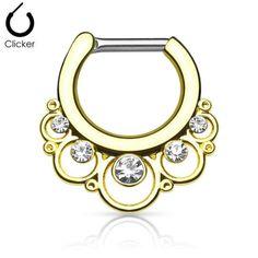 Aro clicker dorado para septum - Pétalos y cristales