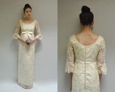 60s Wedding Dress  //  Ivory Lace Wedding Dress  // THE ALENCON on Etsy, $198.00