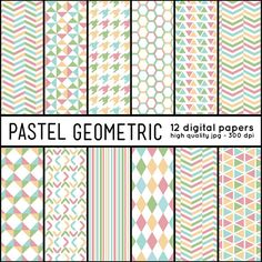 Repeatable pattern download: Colorful GEOMETRIC Shapes  12 Digital Papers pattern by arrowisp #pastel #printable #honeycomb #houndstooth #chevron #diamonds #lines