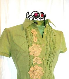 Upcycled Shabby chic Shirt Pastel Green rose applique J Crew Blouse