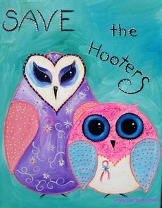 How to paint Two owls Save the hooters painting By Cinnamon Cooney The Art…