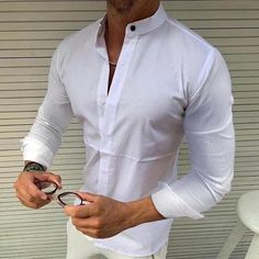Men's Casual Long Sleeved Lapel Shirt