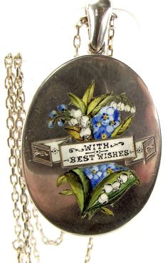 Antique 1880 Silver Enamel Locket Lily/Of/Valley/Forget/Me/Nots from m4gso on Ruby Lane