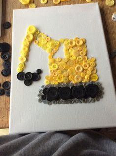 Digger button canvases perfect for a little boys room £10
