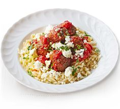 Middle-Eastern inspired vegetarian 'meatballs' pair perfectly with orzo pasta and creamy feta cheese - a deliciously different everyday dinner