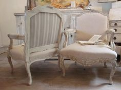 antique French chairs in pale linen and grey ticking stripe - The Paper Mulberry: Essentially French! French Decor, French Country Decorating, Antique French Furniture, Vintage Furniture, Paper Mulberry, French Chairs, Home Decor Furniture, Furniture Upholstery, French Country Style