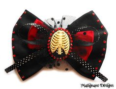 NEW Large Black and Red Fabric Bow with Ribcage Cameo and Rhinestones - Pinup, Rockabilly, Gothic, Anatomical by malignantdesigns, $12.70